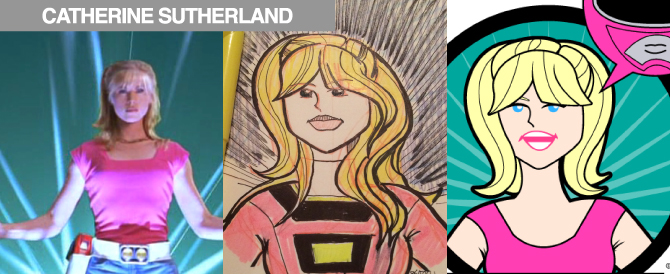 New Caricature of Catherine Sutherland (as Multiple Power Rangers)
