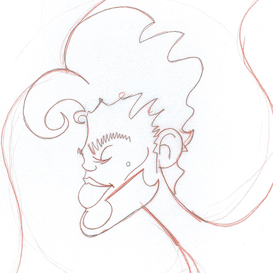 Initial line-art sketch of Prince. I drew it on tracing paper because I knew I would later use it as a template.